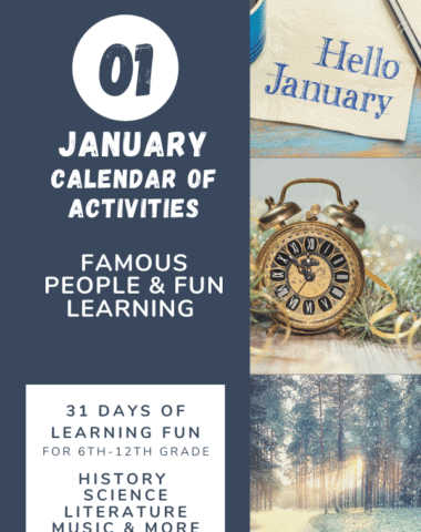 collage image of winter settings with text overlay. Hello January! Calendar of Activities about famous people and fun learning from www.Homeschoolgiveaways.com