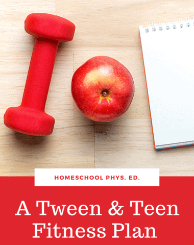image of fitness equipemnt and apple with text overlay. A tween & Teen Fitness checklist for Homeschool Phys. Ed. from www.homeschoolgiveaways.com