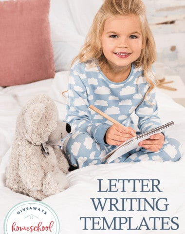 young girl writing a letter on her bed with overlay Letter Writing Templates