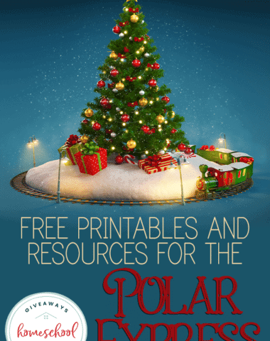 "drawn christmas tree with train running around it and overlay ""FREE Printables and Resources for the Polar Express"""