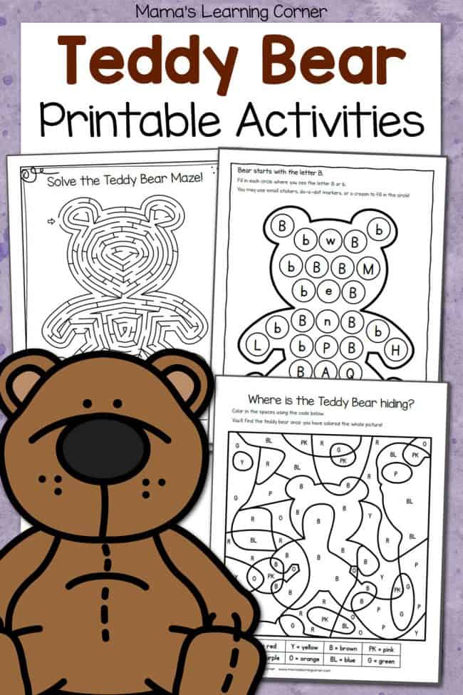 sample pages of Teddy Bear Printable Activities
