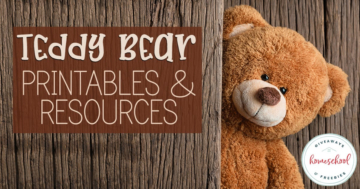 teddy bear peeking out from behind a wooden panel with overlay - Teddy Bear Printables & Resources