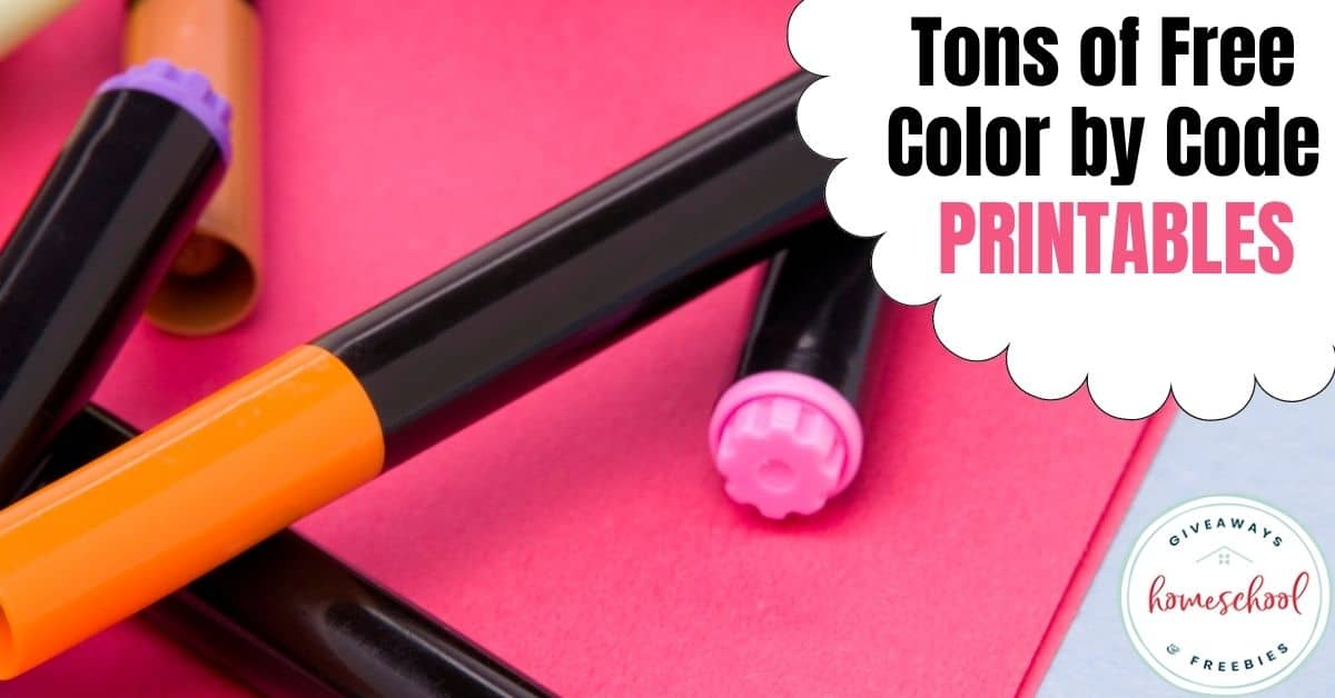 Tons of Free Color by Code Printables. #colorbycodeprintables #colorbycoderesources #freecolorbycode #colorbynumber #colorbyword