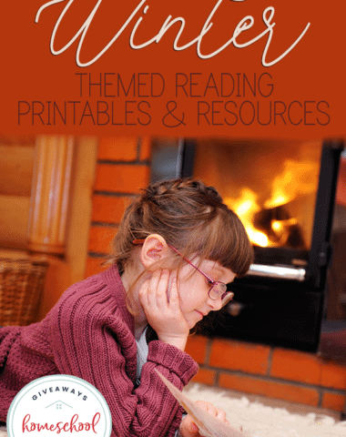 girl reading a book by the fire with overlay - Winter Themed Reading Printables & Resources