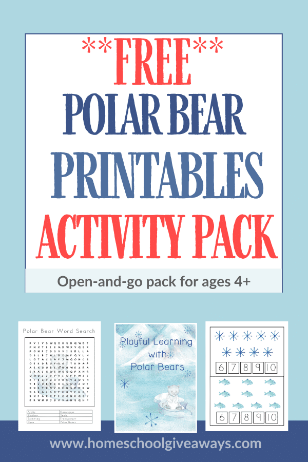 Free polar bear printables activity pack text overlay and images of three worksheet pages on blue background