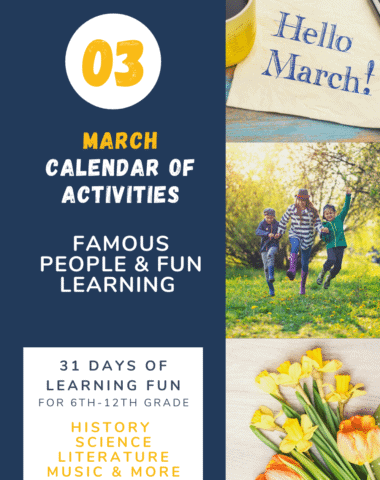 collage image of spring activities with text overlay. March calendar of activities. Famous people & fun learning.31 Dys of learing fun: Science, Literature,Music, Art & More from www.Hoeschoolgiveaways.com