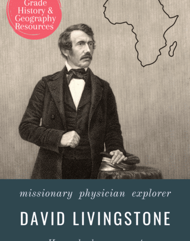 antique image of Dr. David Livingstone with text overlay. David Livingstone: Missionary, Physician, Explorer. 6th-12th grade history & geography resources from www.Homeschoolgiveaways.com