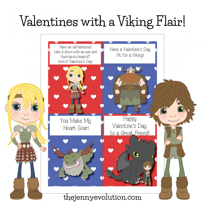 samples of How to Train Your Dragon Valentine's Day Cards