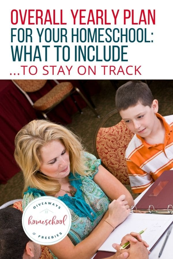 Overall Yearly Plan for Your Homeschool text overlay on image of mom, dad and son reviewing their plan at a desk