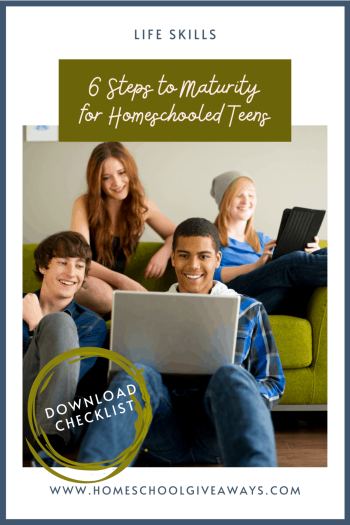 image of teens on couch with computers with text overlay. Life Skills 6 Steos to Maturity for Homeschooled Teens. Get checklist at www.Homeschoolgiveaways.com