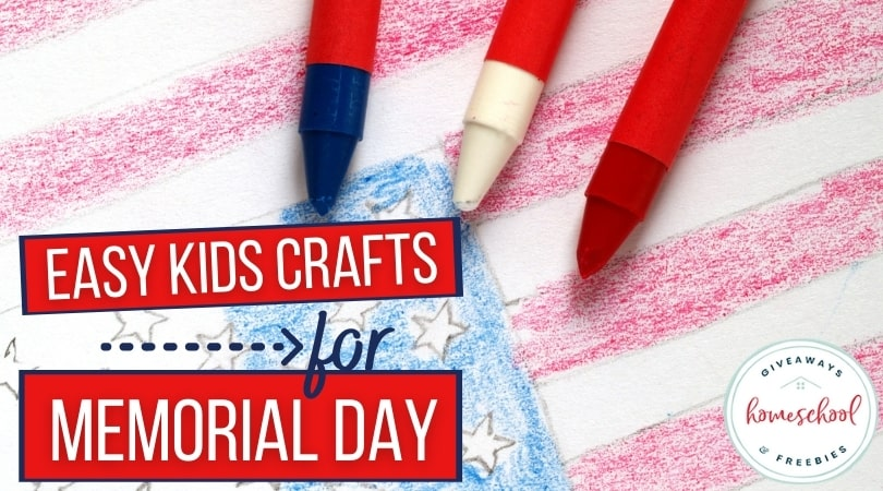 Easy Kids Crafts for Memorial Day text with image of patriotic coloring page.