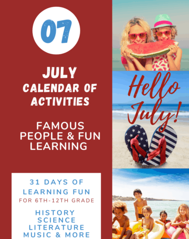 Hello July calendar of famous people at www.captivatingcompass.com