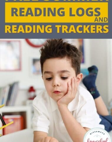 Free Summer Reading Logs and Reading Trackers. #homeschoolgiveaways #readinglogs #readingtrackers #readingresources #summerreading
