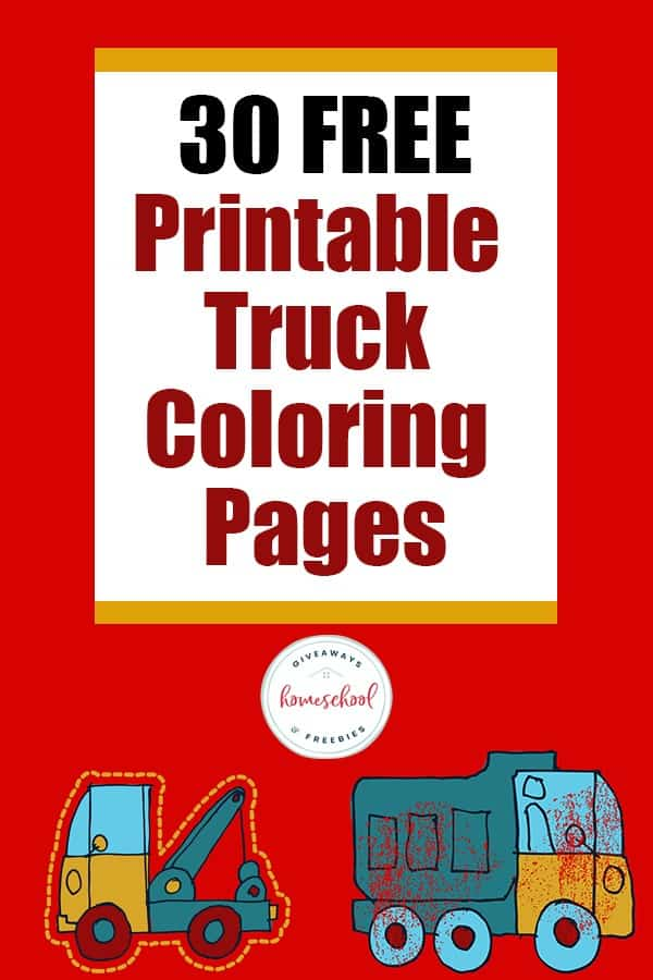 2 toy truck clip arts ND TEXT OVERLAY 30 FREE Printable Truck Coloring Pages