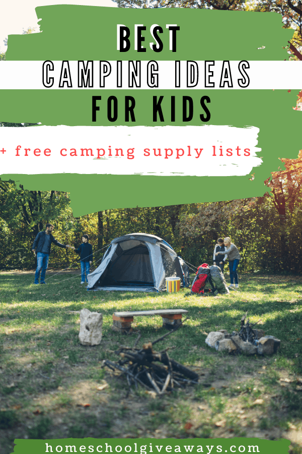 Best Camping Ideas for Kids + Free Printable text overlay on image of family tent camping
