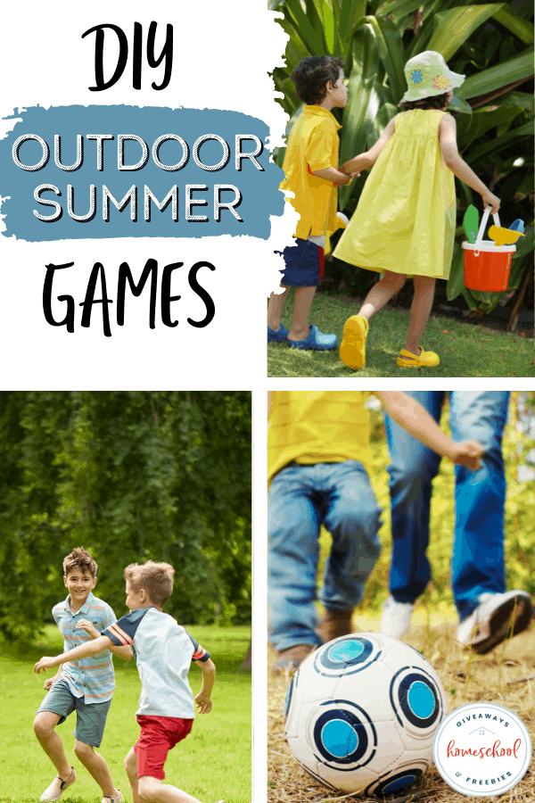 kids playing outside in the sun with text overlay DIY Summer Games