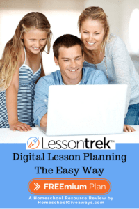 image of family looking at laptop with text overlay. Digital Lesson Planning The Easy Way. Lessontrek. A Homeschool Resource Review by www.HomeschoolGiveaways.com