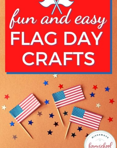 small flags and red and blue stars with text overlay