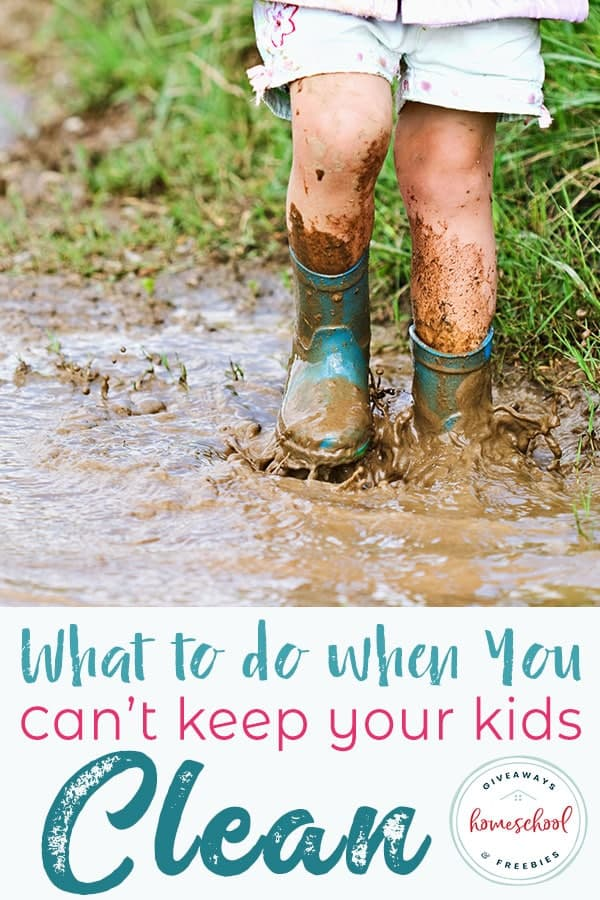 kid walking and spalshing in dirt with rain boots with text overlay.