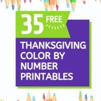 crayons on a page with text overlay of the 35 free Thanksgiving coloring pages