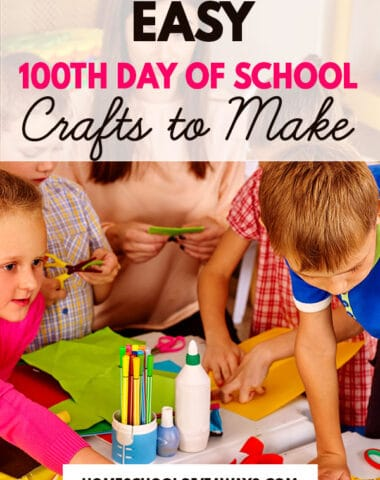 young kids doing crafts wearing colorful clothes doing crafts with text overlay