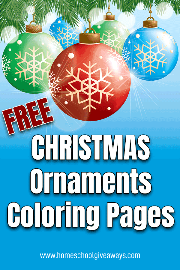 graphic design of Christmas ornaments and text overlay Free Christmas Ornaments Coloring Pages
