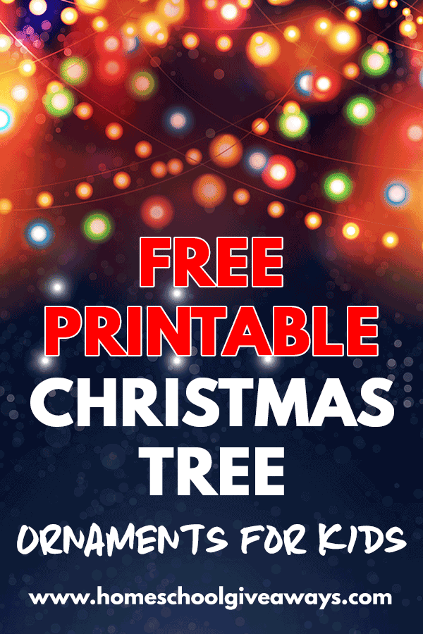 Christmas background with lights and text overlay Free Printable Christmas Tree Ornaments for kids