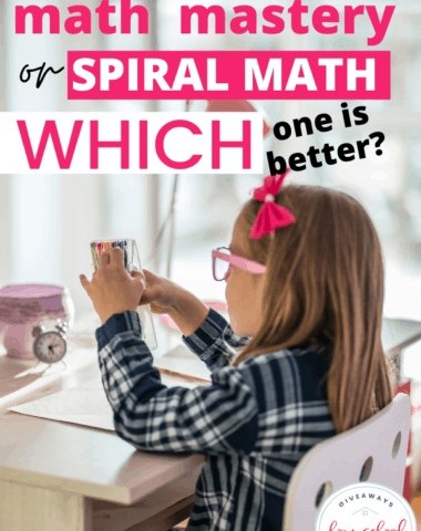 young girl student using a math manipulative, with text overlay