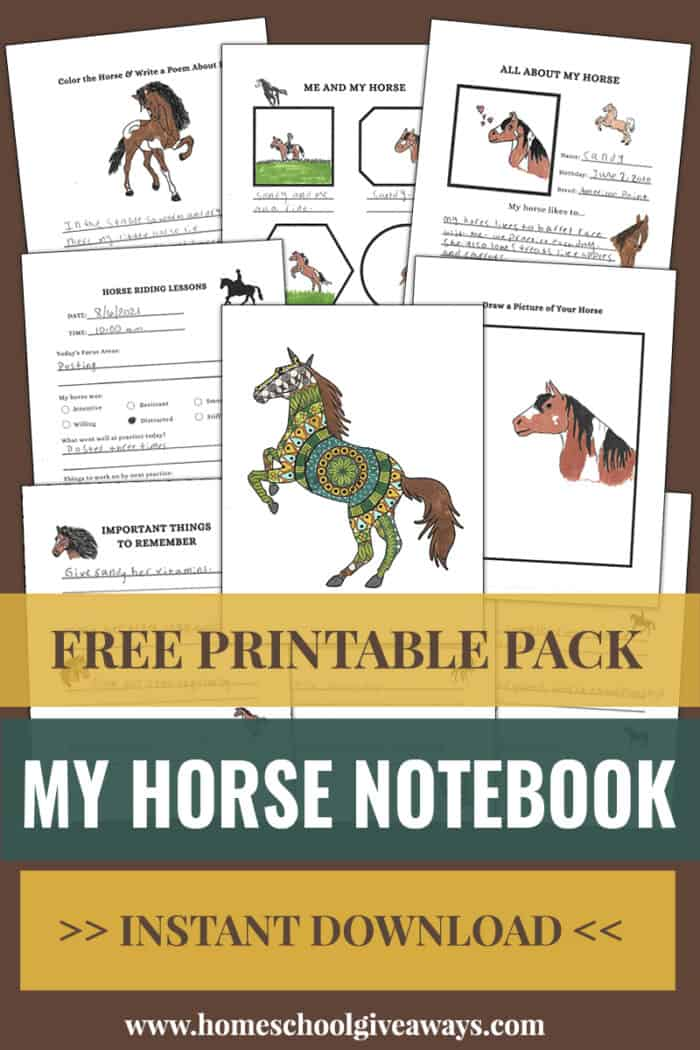 free printable pack my horse notebook instant download text overlay with horse notebooking pages.