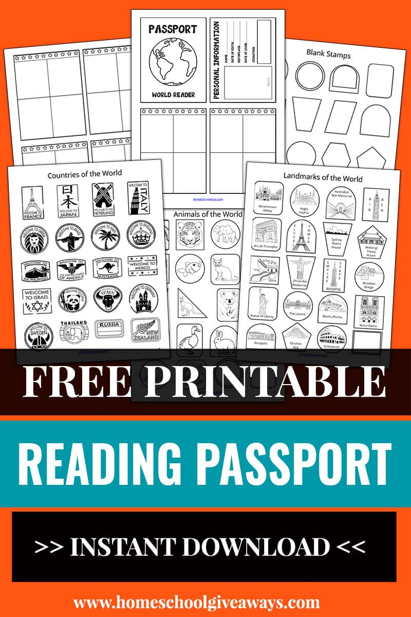 worksheet pages of a printable reading passport