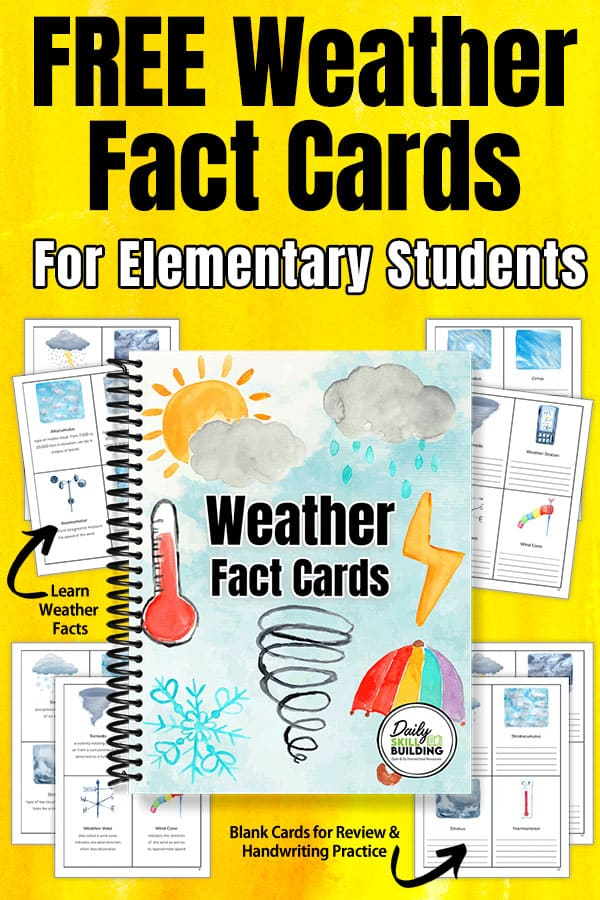 Weather Flash Cards with text overlay Weather Fact Cards for Elementary Students (Free Printable)