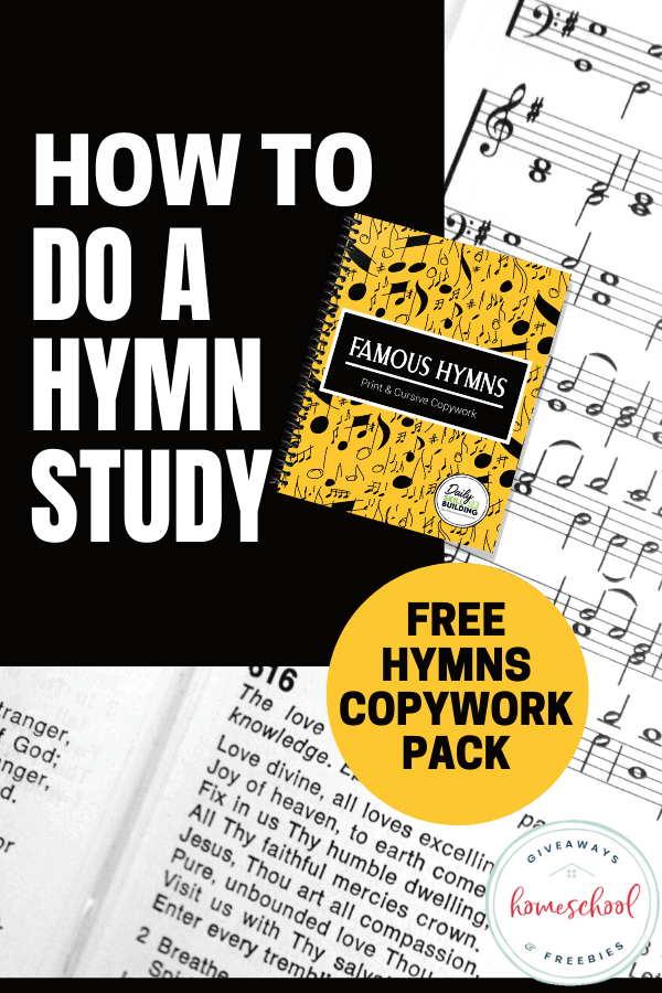 sheet music, hymns copybook, how to do a hymn study text overlay