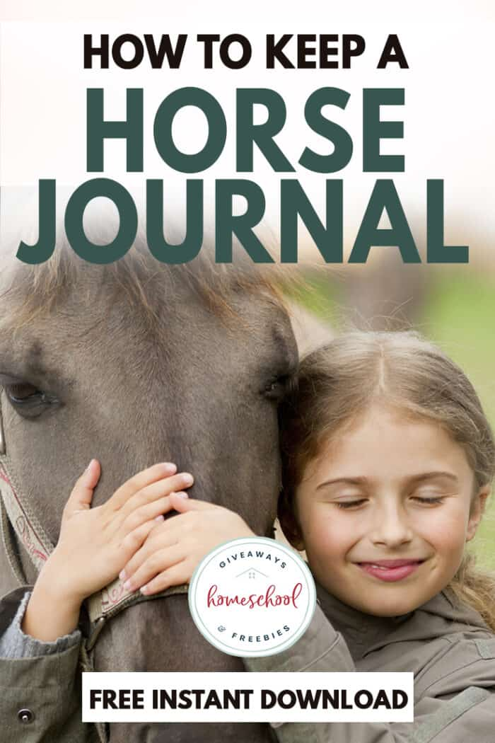how to keep a horse journal free instant download text with photo of a horse and little girl.