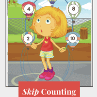 Cartoon image of a girl jumping rope with skip counting numbers on the rope. Ther eis text overley at the bottom with white letters and red background.