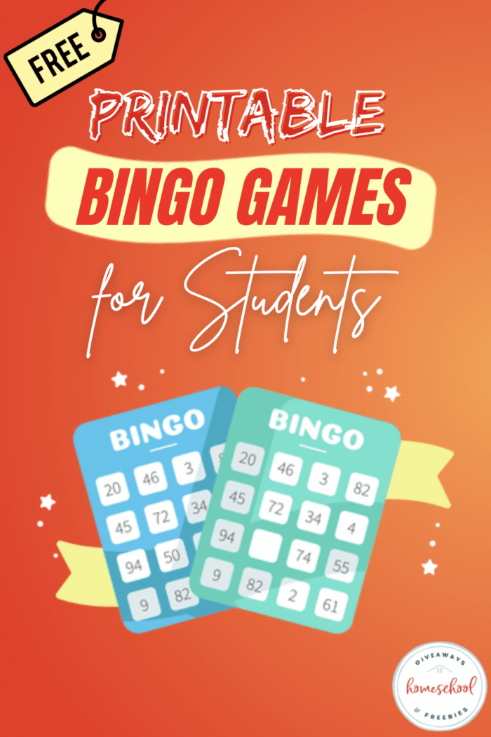 Orange background, two bingo cards crossing and text overlay.